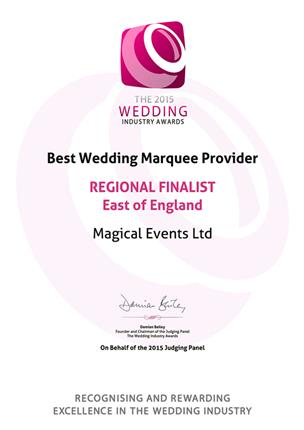 The 2015 Wedding Industry Awards, Wedding Marquee Provider Of The Year, Regional Finalist