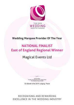 The 2019 Wedding Industry Awards, Wedding Marquee Provider Of The Year, National Finalist