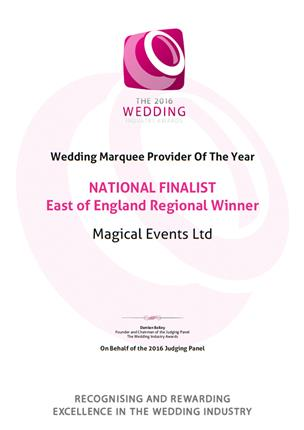The 2016 Wedding Industry Awards, Wedding Marquee Provider Of The Year, Regional Finalist