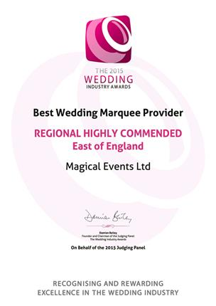 The 2015 Wedding Industry Awards, Wedding Marquee Provider Of The Year, Regional Highly Commended